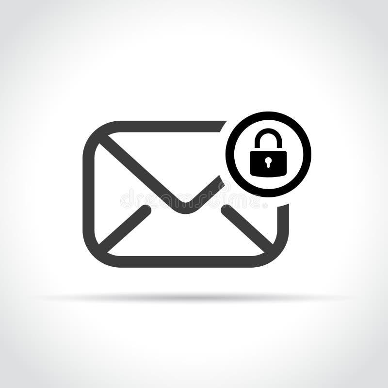 Envelope com ícone do cadeado no fundo branco ilustração stock