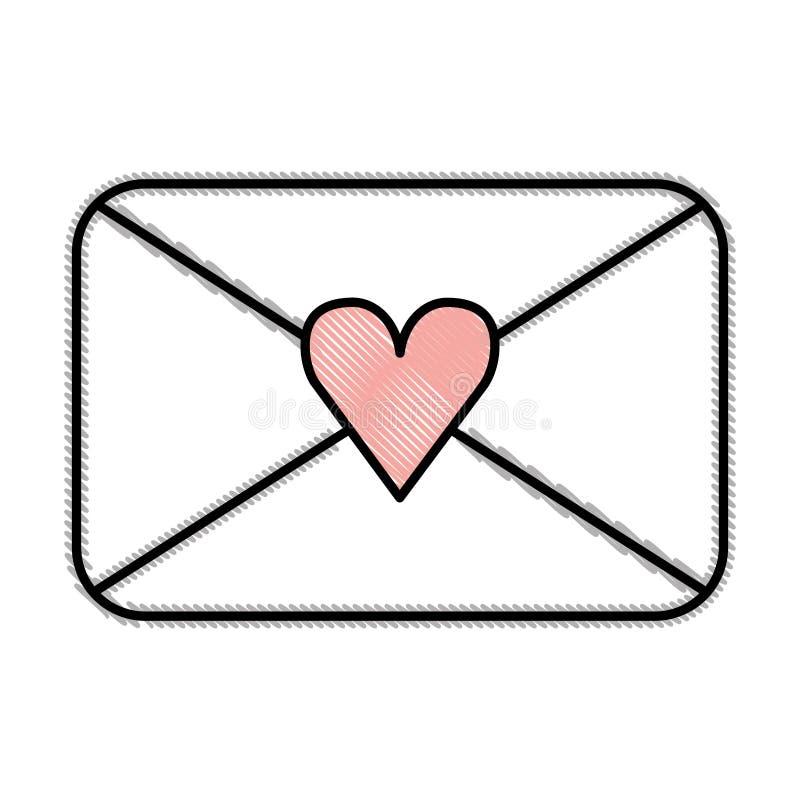 Envelope com ícone romântico do amor do coração ilustração royalty free