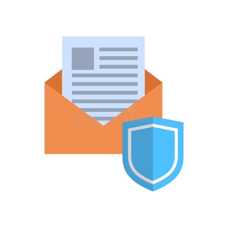 Envelope com conceito da proteção de dados do correio do ícone do protetor ilustração stock