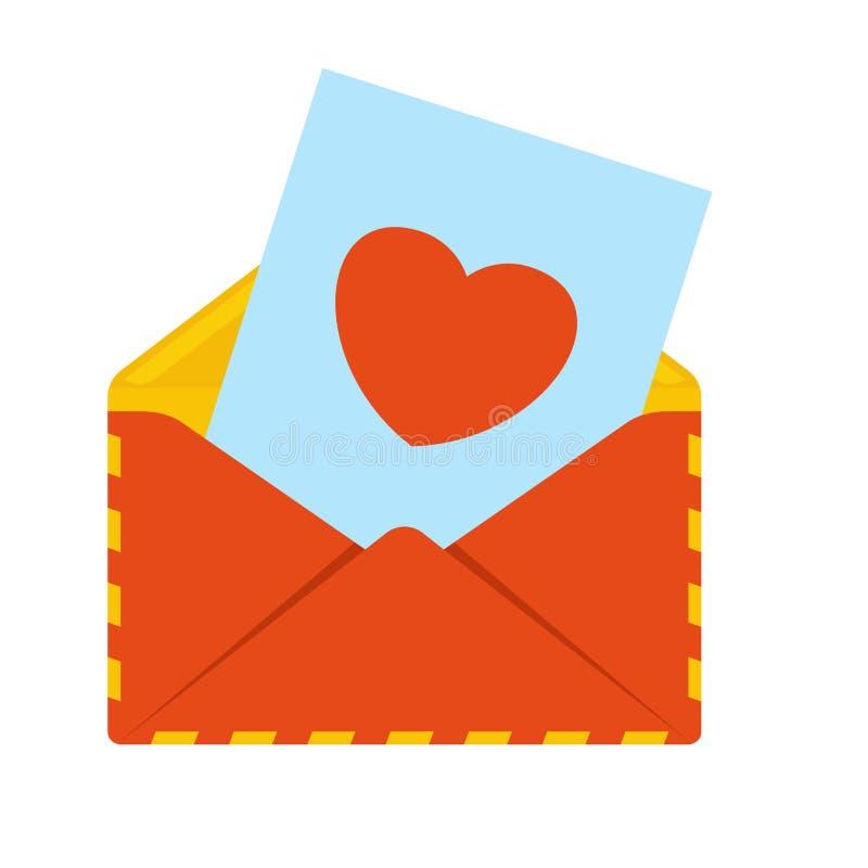 Envelope com coração ilustração royalty free