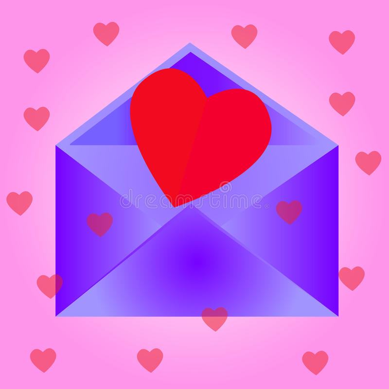 Envelope com coração, fundo cor-de-rosa fotos de stock