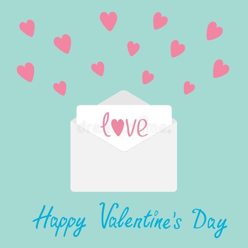 Envelope com corações. Cartão feliz do dia de Valentim. ilustração stock