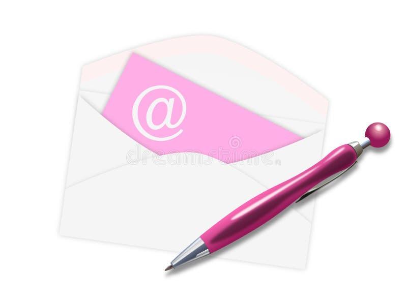 Envelope com em sinal e o ballpoint cor-de-rosa ilustração stock
