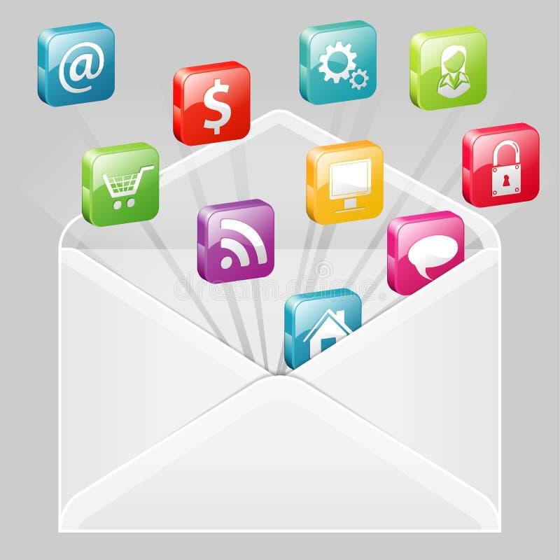 Envelope com jogo dos ícones ilustração stock