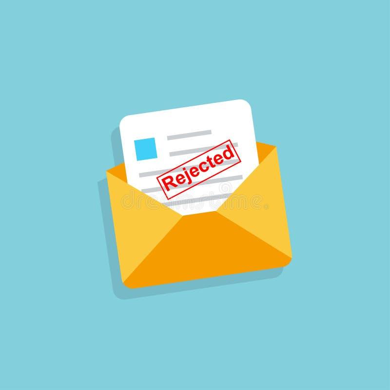 Envelope com letra rejeitada no projeto liso ilustração royalty free