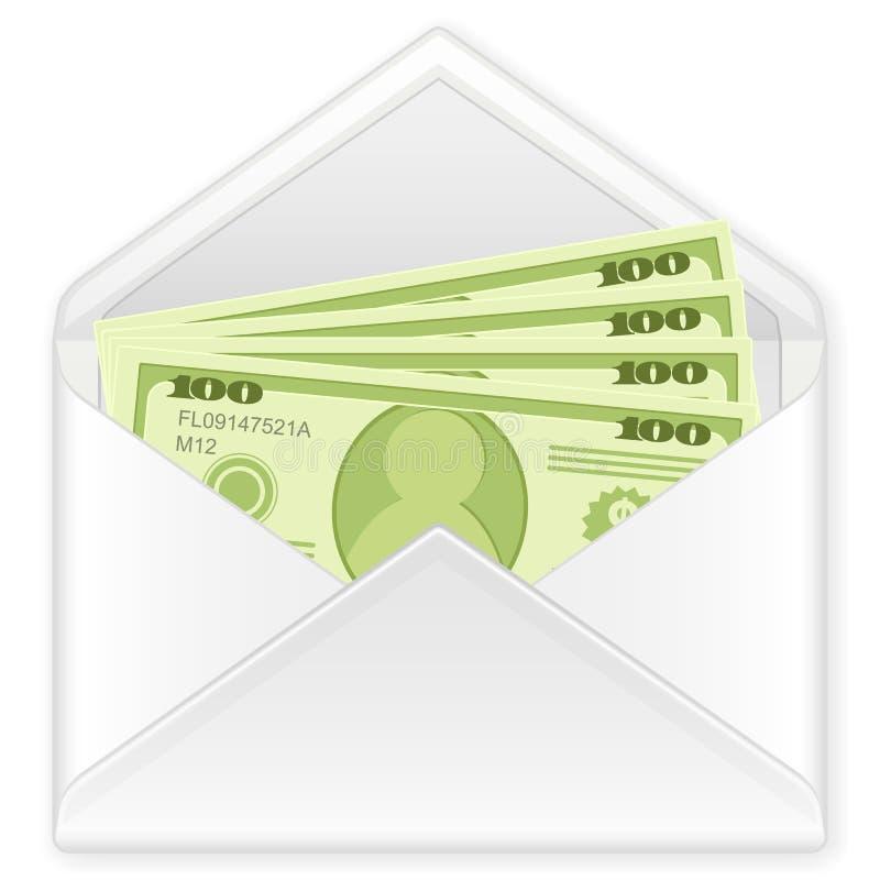 Envelope com notas de banco ilustração do vetor