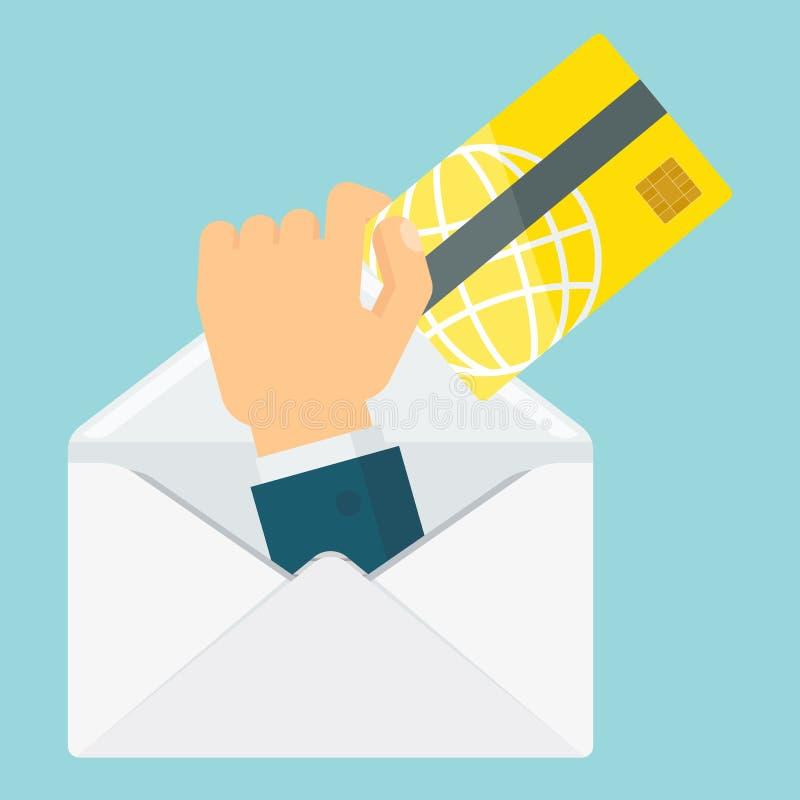 Envelope com pagamento do cartão ilustração do vetor