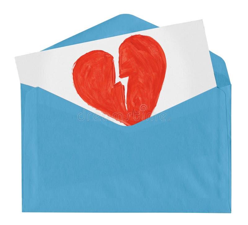 Envelope com símbolo de amor quebrado fotografia de stock royalty free