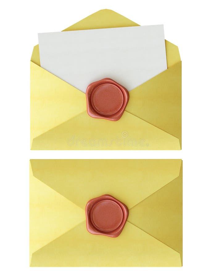 Envelope com selo vermelho da cera ilustração do vetor