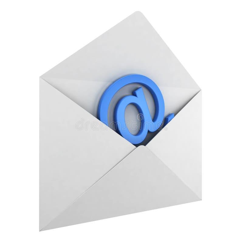 Envelope com sinal do email ilustração do vetor