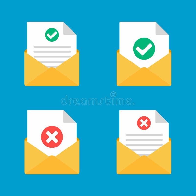 Envelope com tiquetaque da marca de verificação da página da folha do papel do documento e grupo transversal da ilustração do vet ilustração stock