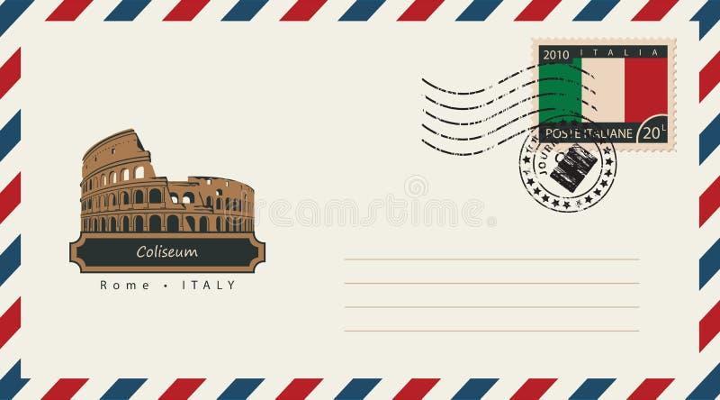 Envelope com um selo postal com coliseu ilustração royalty free
