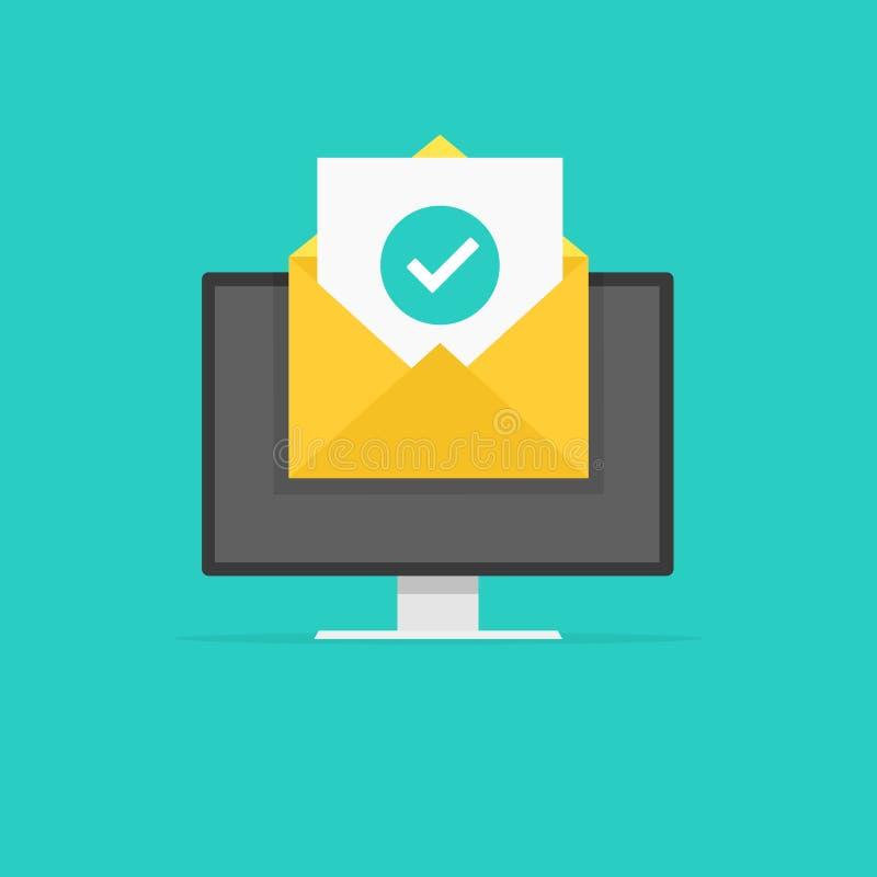Envelope com verde da marca de verificação do original Entrega bem sucedida do email, confirmação da entrega do email Ilustração  ilustração royalty free