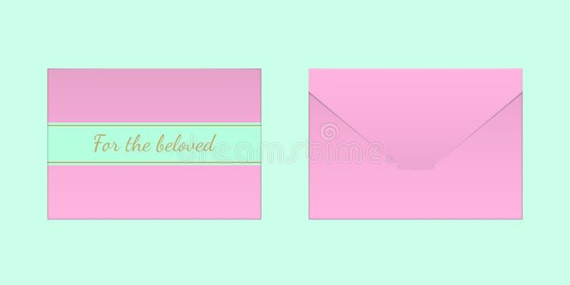 Envelope cor-de-rosa decorativo Zombaria do vetor acima ilustração royalty free