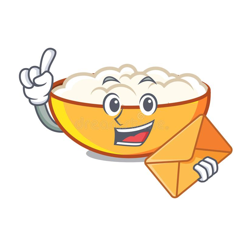 With envelope cottage cheese character cartoon. Vector illustration stock illustration