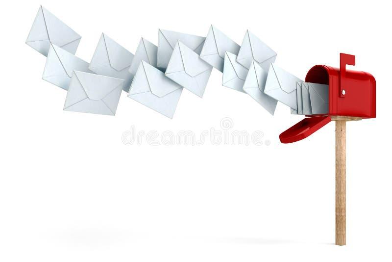 envelope 3d e caixa postal ilustração royalty free