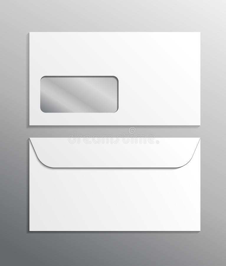 Envelope 3d vector realistic ad mockup white blank. Mail office template closed isolated illustration with window. Front and back stock illustration
