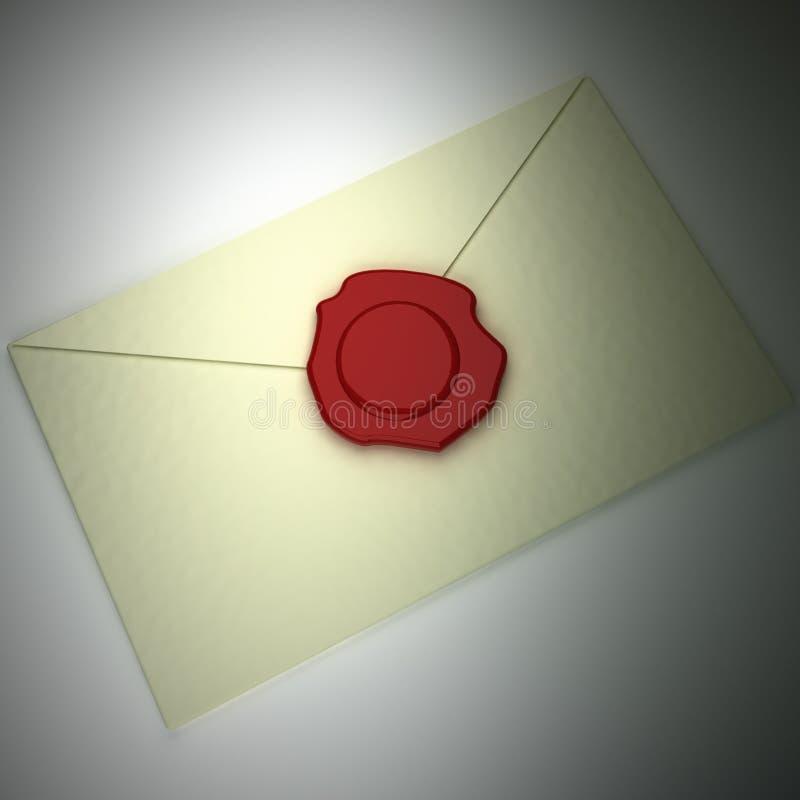 Envelope da letra com selo da cera de selagem ilustração stock
