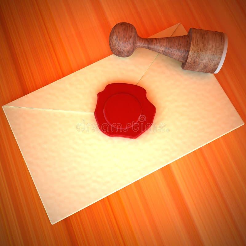 Envelope da letra com selo da cera de selagem ilustração do vetor