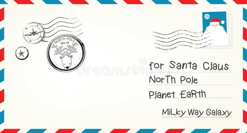 Envelope da letra do Natal do vetor ilustração royalty free