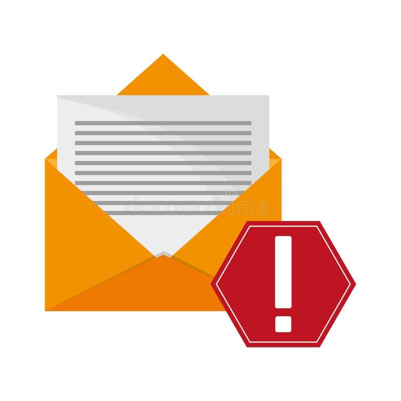 Envelope da mensagem e ícone do sinal de aviso ilustração stock