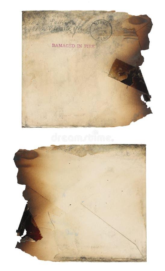 Envelope danificado incêndio foto de stock