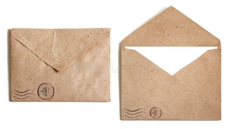 Envelope de dois Brown imagens de stock