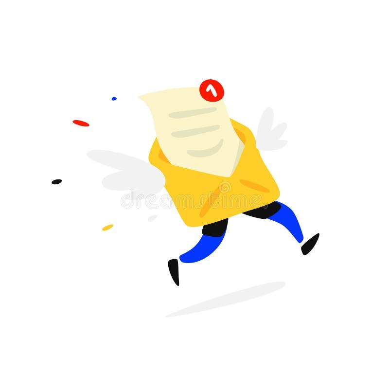 Envelope de envio pelo correio de corrida com uma letra e pés Vetor Você rotula sms Email Mascote para as disposições postais da  ilustração royalty free