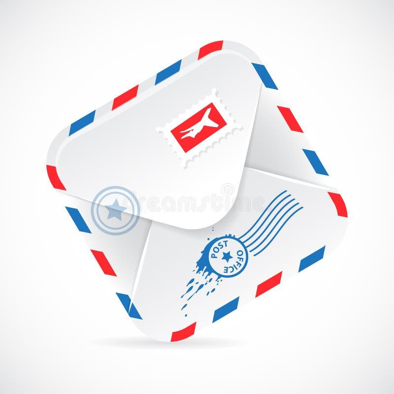 Envelope de papel realístico do correio aéreo. ilustração stock