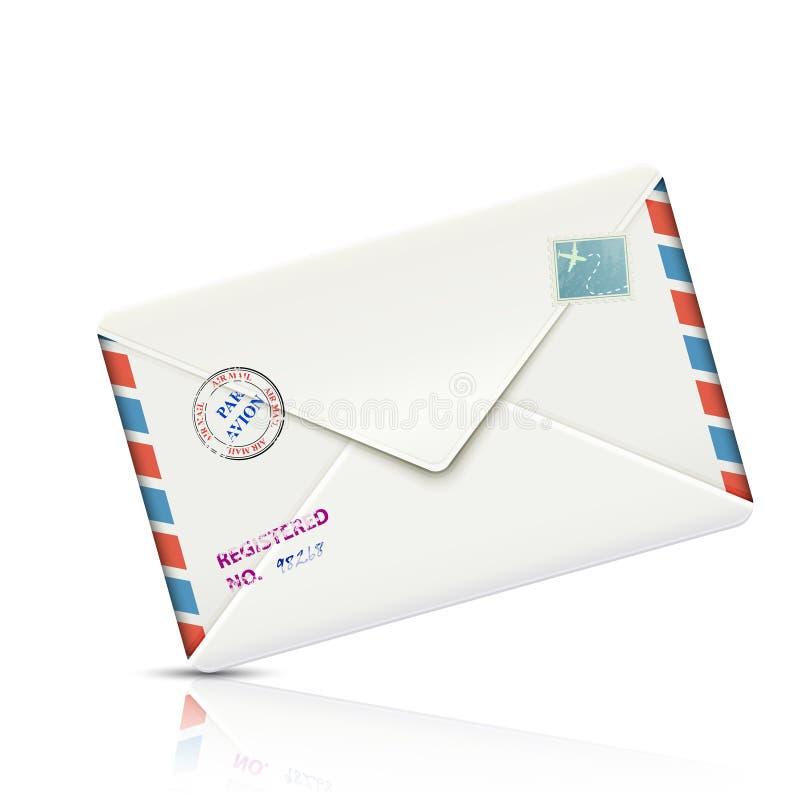 Envelope de papel realístico do correio aéreo antiquado ilustração do vetor