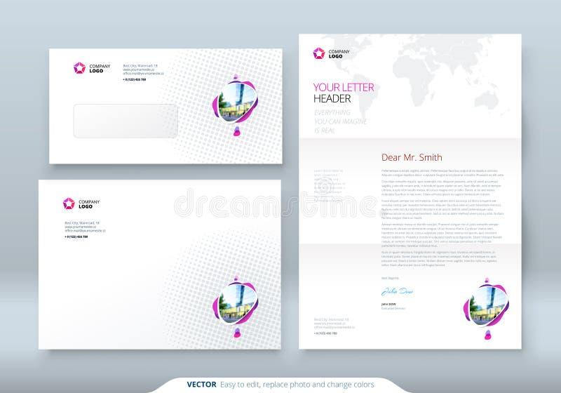 Envelope DL, C5, cabeçalho Molde da empresa para o envelope e a letra Disposição com os pontos coloridos modernos ilustração royalty free