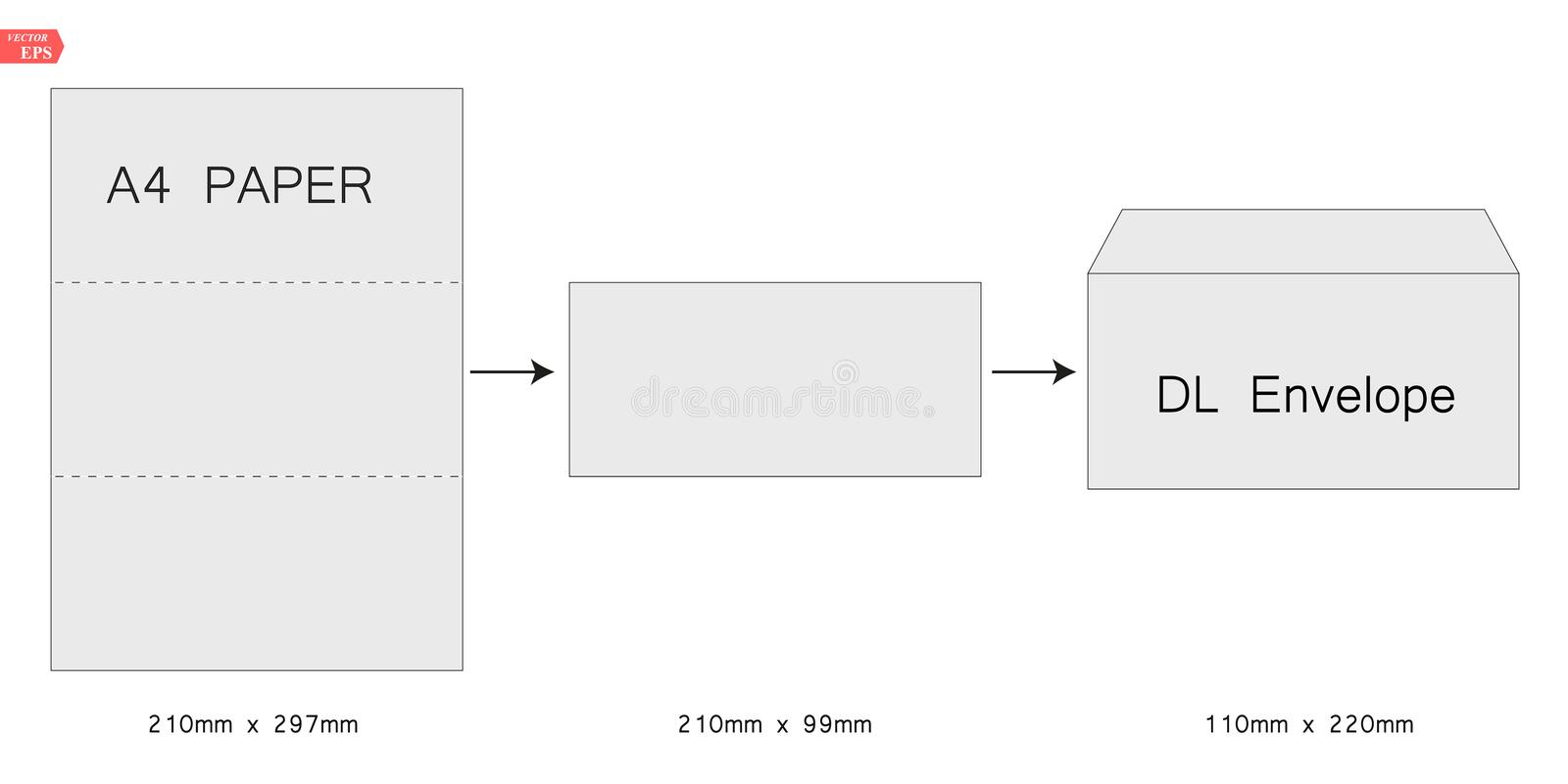 The envelope DL size. Stamp. black isolated circuit envelope. International standard size royalty free illustration