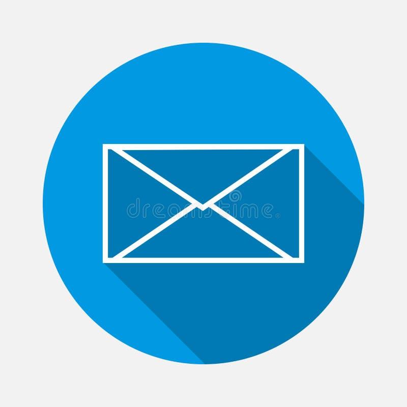 Envelope do ícone do vetor no fundo azul Mensagem lisa da imagem com ilustração royalty free