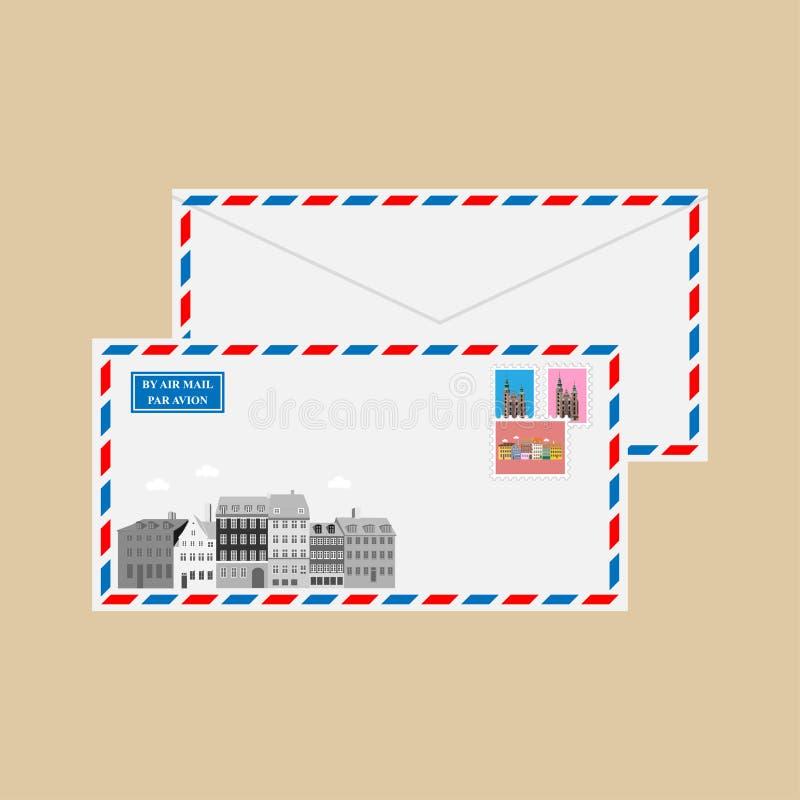 Envelope do correio aéreo com carimbos postais ilustração do vetor