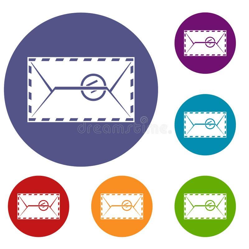 Envelope do correio com os ícones de um selo ajustados ilustração royalty free