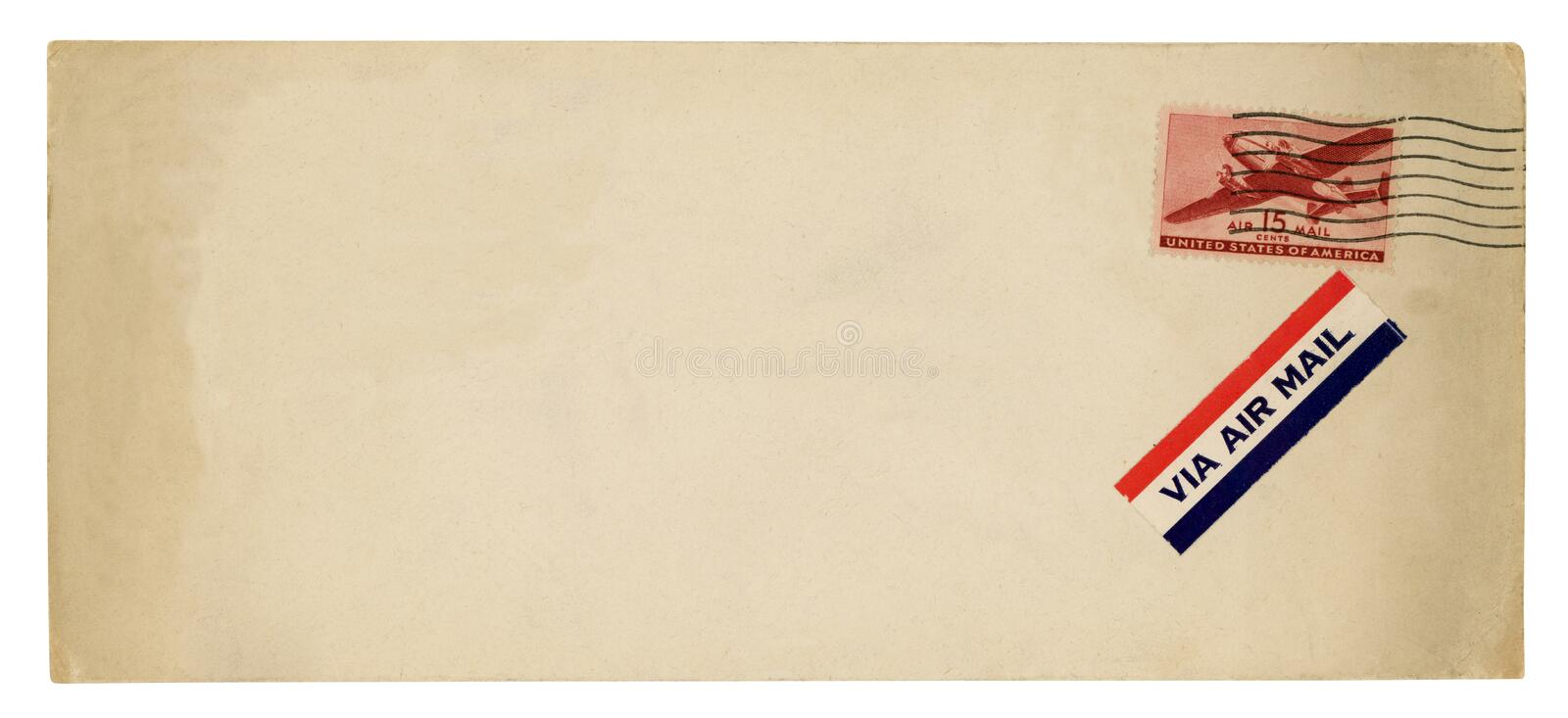 Envelope do correio a?reo do vintage foto de stock royalty free