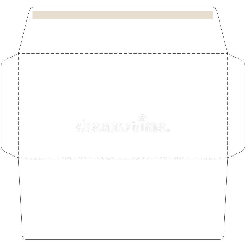 Envelope do escritório cortado acima do molde ilustração stock