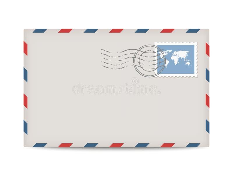 Envelope do porte postal do vetor com selo ilustração stock