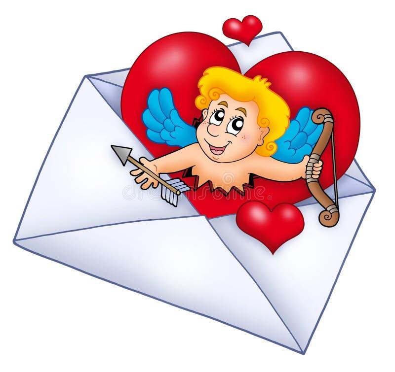 Envelope do Valentim com Cupid ilustração royalty free