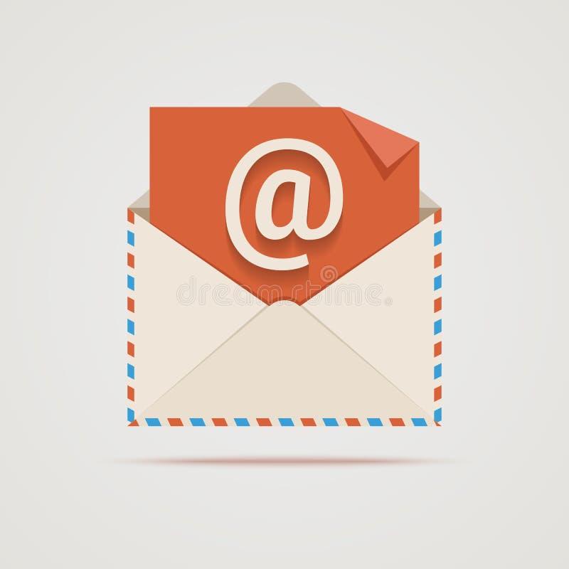 Envelope do vetor com sinal do email. ilustração stock