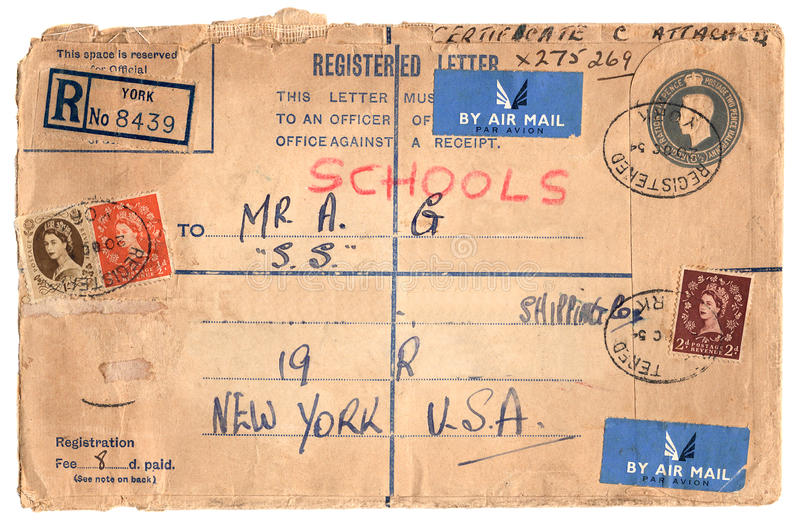 Envelope do vintage com selos imagens de stock royalty free