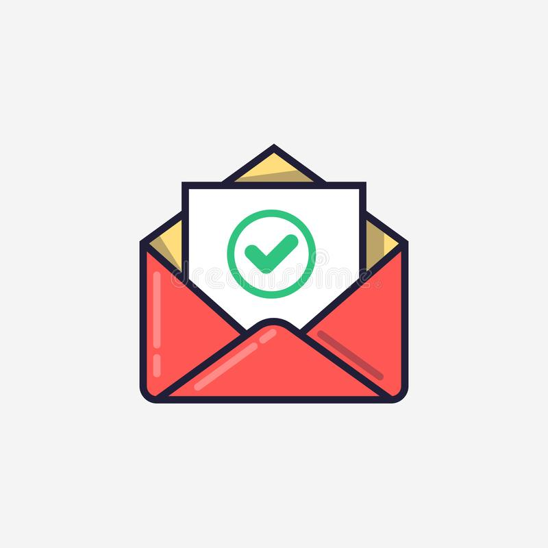 Envelope with document and round green check mark icon. Successful e-mail delivery, email delivery confirmation stock illustration