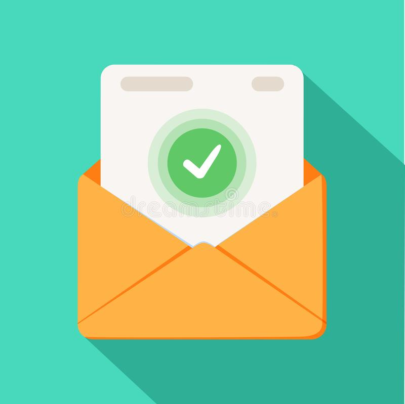 Envelope with document and round green check mark icon. Successful e-mail delivery, email delivery confirmation vector illustration