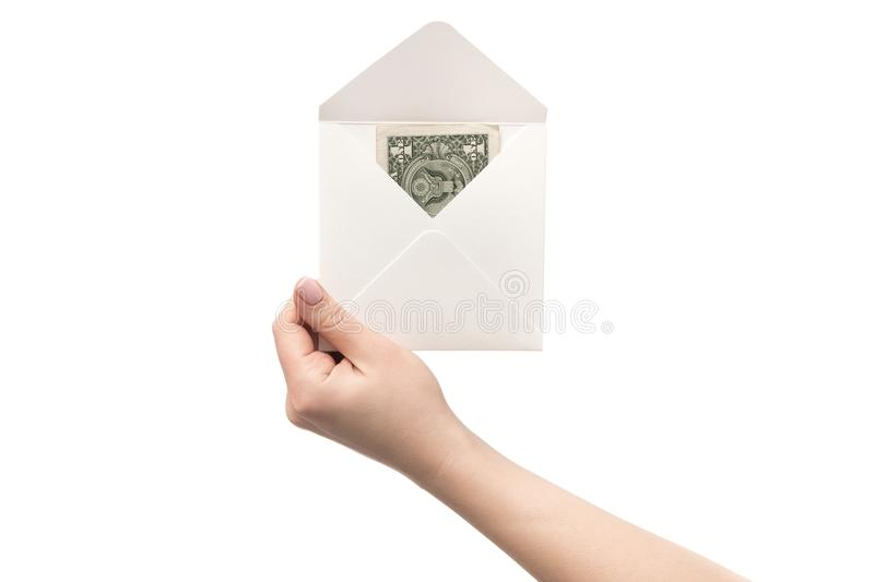 An envelope with dollar in hand, isolated stock image