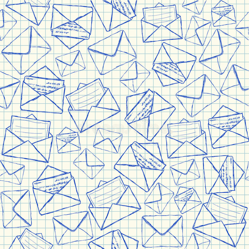 Download Envelope Doodles Seamless Pattern Stock Vector - Illustration of icon, card: 31239674