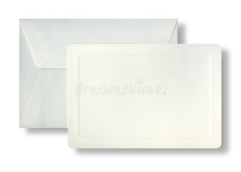 Envelope e cartão embassed listrado imagem de stock royalty free