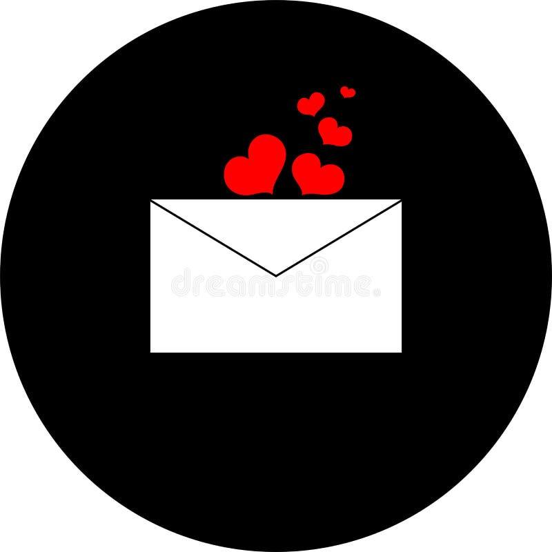 Envelope e corações em um fundo preto fotografia de stock royalty free