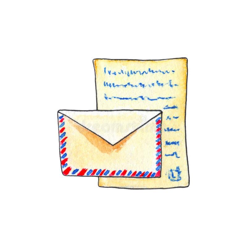 Envelope e letra por aquarelas no fundo branco Ilustração handdrawn do watercolour de papel da letra ilustração royalty free