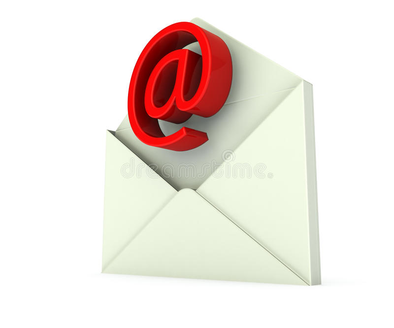 Envelope with e-mail sign in red. Open envelope with e-mail sign in red royalty free illustration