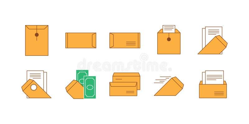 Envelope e papel do marrom do grupo do ícone ilustração stock